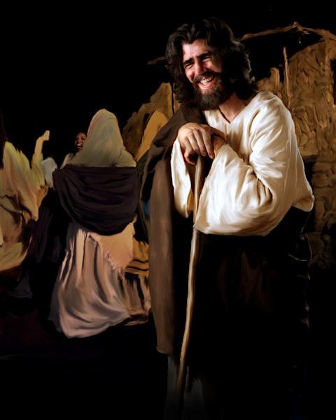 Joyous Jesus at a wedding