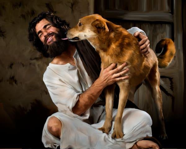 Joyous Jesus gets a kiss