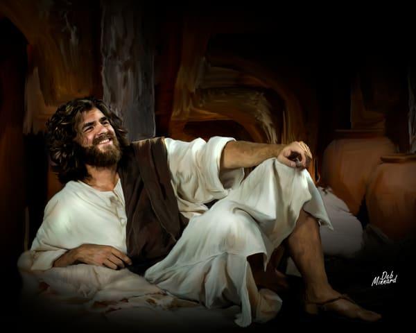 Joyous Jesus reclining