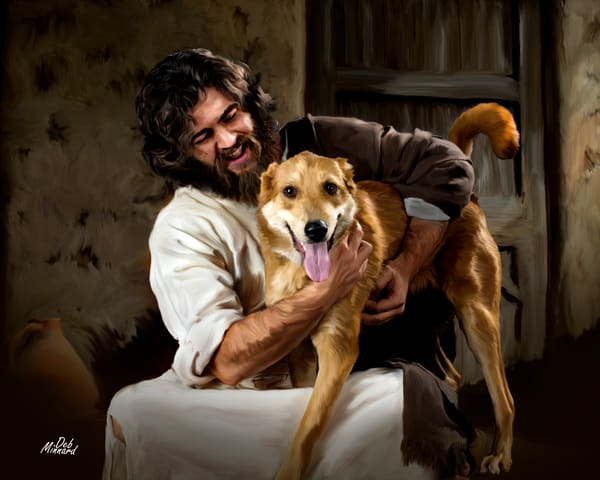 Joyous Jesus interacting with a dog