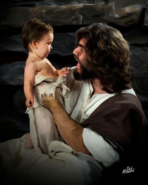 Joyous Jesus surprises baby