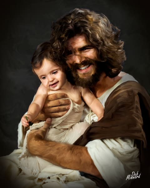 Joyous Jesus hugging a baby