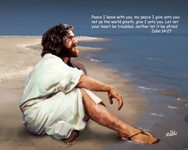 Jesus at the sea shore with text