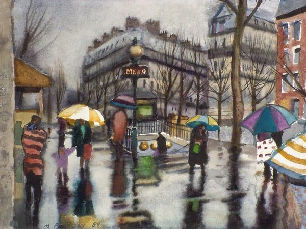 Paris Rain Metro