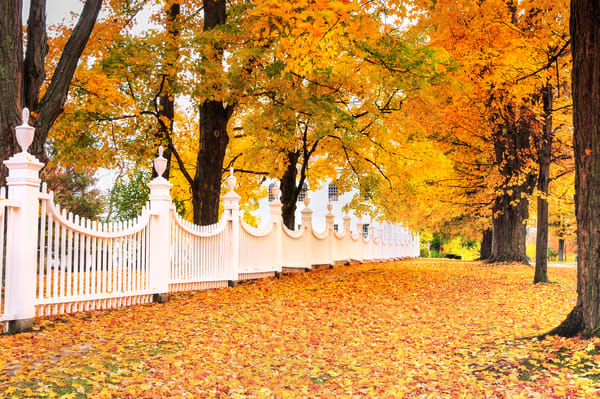 Quaint Vermont Village fine art decor prints/West Bennington Vermont Autumn Foliage landscapes by Tom Schoeller