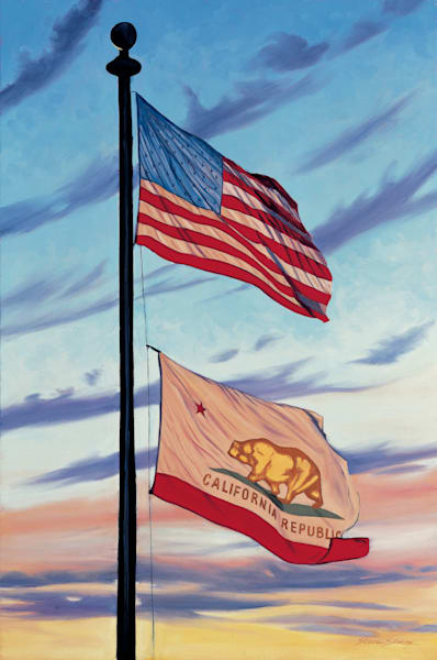 American and Californian Flags flying