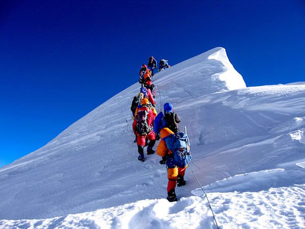 Summiting Everest on May 30, 2005