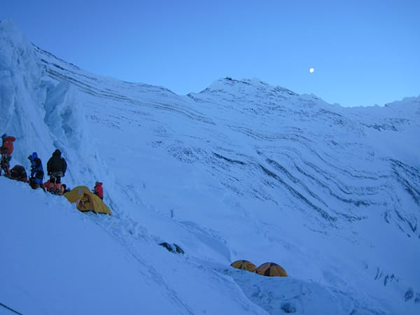 Moon Above Everest Camp III On The Lhotse Face at 24,000 ft