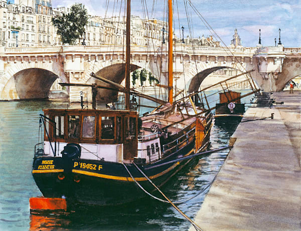 Barge Near Pont Neuf, James Asher