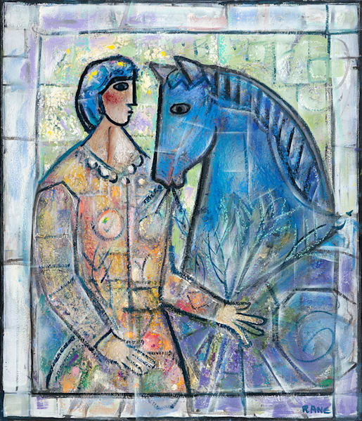 Woman With Blue Horse