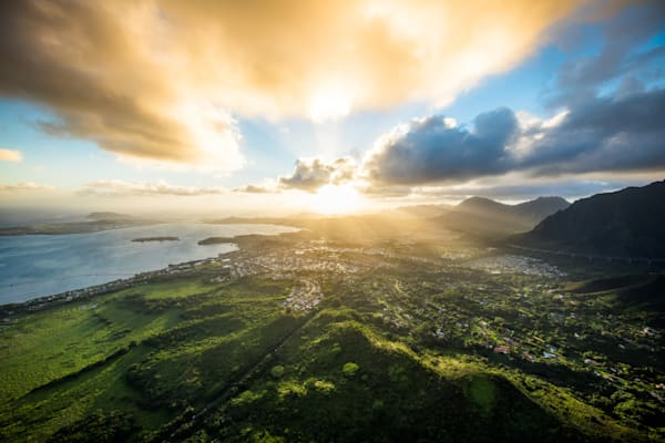 Aerial Nature Photography |  Kaneohe Sunrise by Cameron Brooks