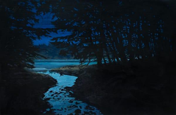 Nocturne, California, Lake, Bon Tempe Lake, Landscape, Acrylic, Acrylic Painting