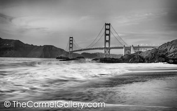 Dusk Golden Gate BW