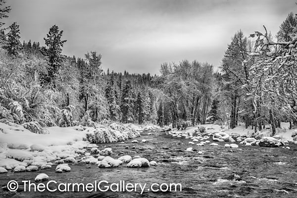 Truckee River in Winter BW