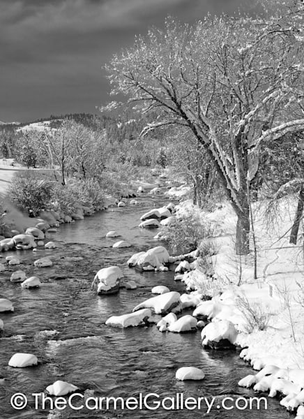Winter Morning Truckee River BW