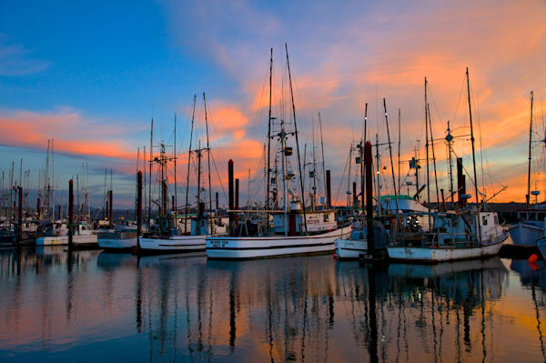 Fishing boats at sunset in Newport, Oregon.