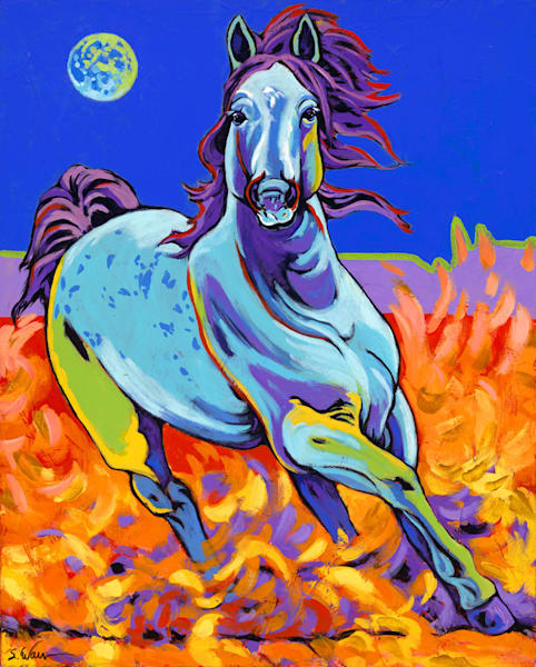 Blue Stallion With Super Moon Art | Sally C. Evans Fine Art