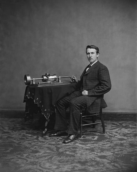 Thomas A. Edison and his Phonograph