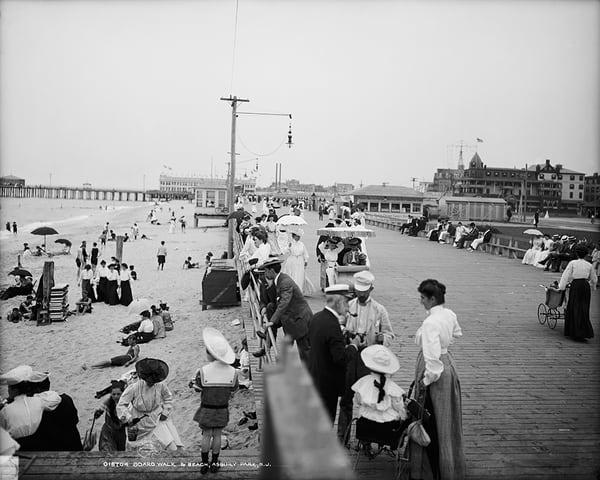 Boardwalk And Beach In Asbury Park, NJ.