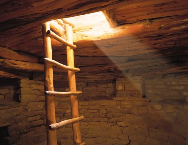 Ladder in a kiva in Mesa Verde National Park, Colorado
