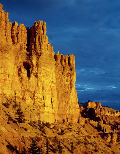 Morning light on the walls of Bryce Canyon in Bryce Canyon National Park, Utah