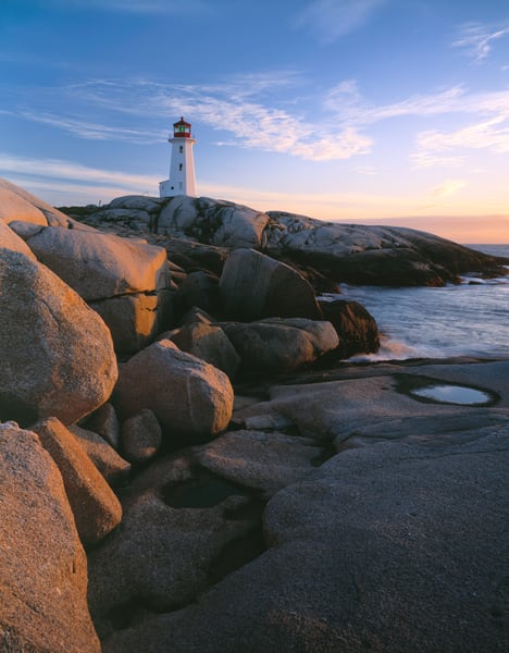Peggy's Cove lightouse on the coast of Nova Scotia, Canada