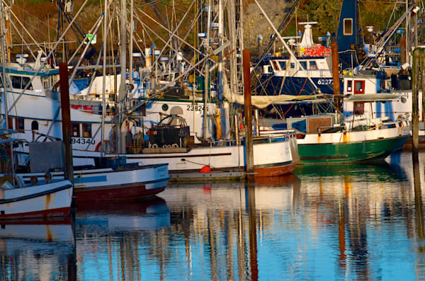 Colorful boats in Charleston, Oregon.
