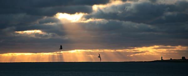 Straitsmouth Lighthouse Sunrise Rays Panorama
