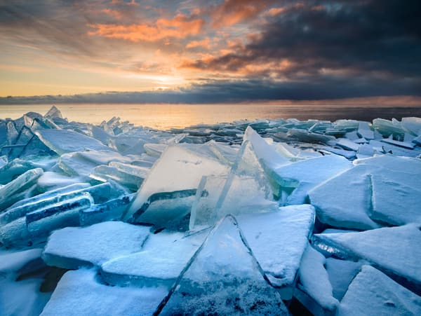 Shattered plate ice at sunrise along the North Shore of Lake Superior