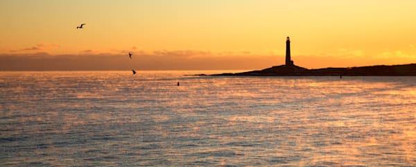 Lighthouse Sea Smoke Sunrise Seagulls Twinlights Thacher Island Panorama
