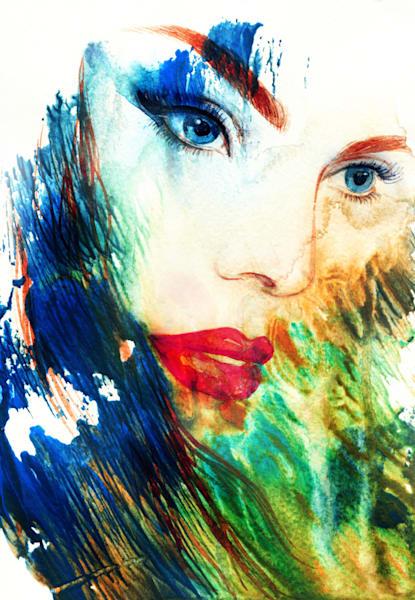 Beautiful woman face. Abstract fashion watercolor illustration - DPC_101107994