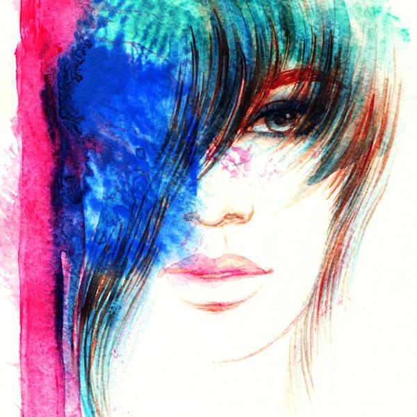 Beautiful woman face. Abstract fashion watercolor illustration - DPC_101108227