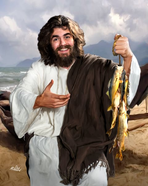 Fish for Dinner, Jesus happily showing his catch of fish