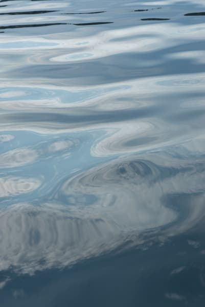 Abstract reflection of cloudson the surface of water, Seattle, WA