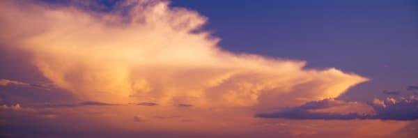 Panoramic view, Cumulonimbus cloud in the evening light