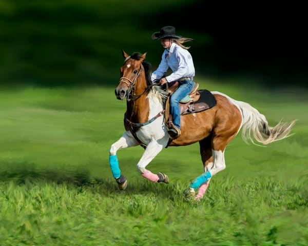 a digital art painting of Maliah barrel racing