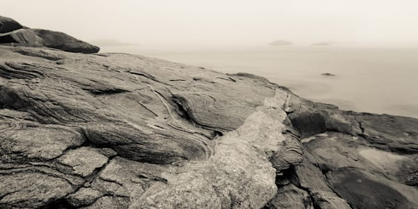 A panoramic view in sepia tone of the foggy CT coast at Waterford Beach.