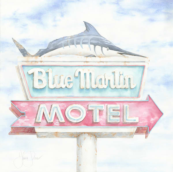 Blue Marlin Motel Art | Hillary Parker Watercolors
