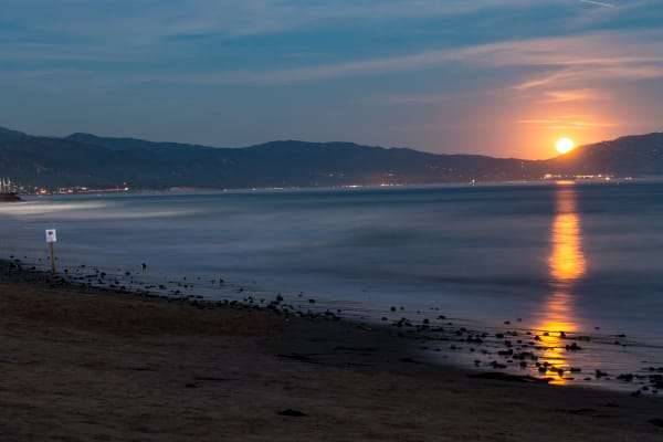 Moonrise Over Mountains In Santa Barbara Photograph for Sale as Fine Art