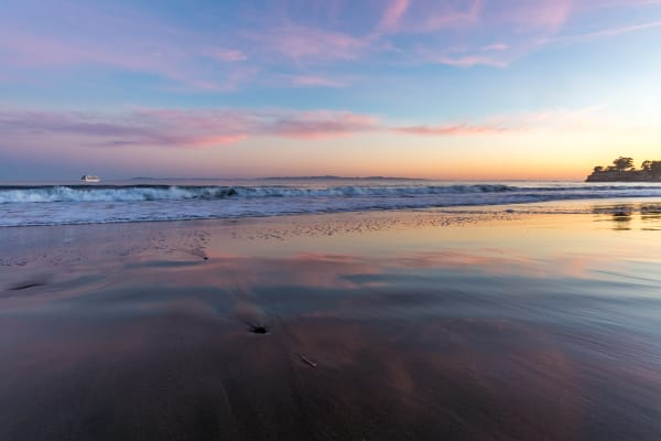 Pastel Sunset Reflection At Leadbetter Beach Photograph for Sale as Fine Art