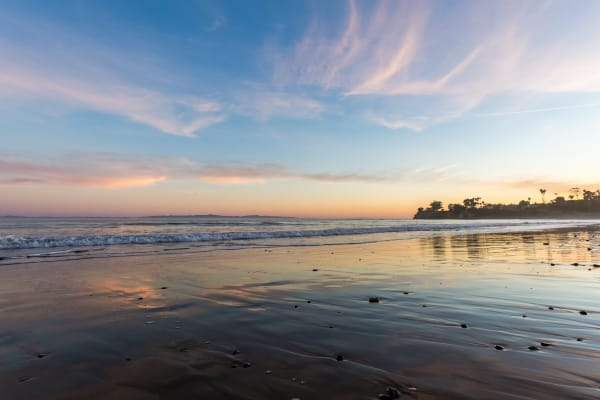 Santa Barbara Sunset Reflection on Wet Sand Photograph For Sale As Fine Art