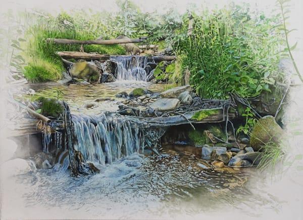 watercolor, landscape, watercolor landscape, southwest, new mexico, sangre de christo mountains, river, creek