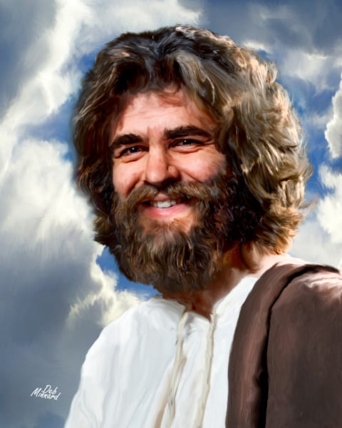 Joyous Jesus outdoors