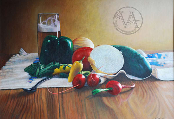 Beer and Vegetables Still Life
