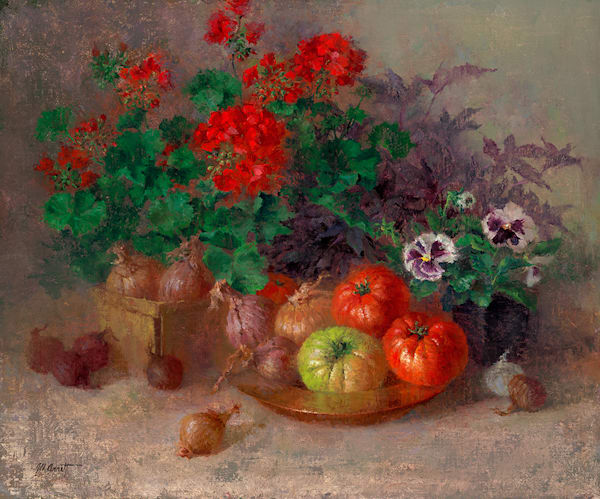 Heirloom Tomatoes and Geraniums