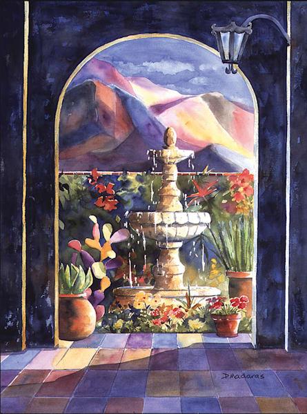 Hacienda Fountain | Southwest Art Gallery Tucson | Madaras