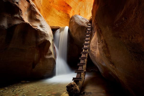 Waterfall with Ladder in Kanarra Creek, Utah, Dixie National Forest