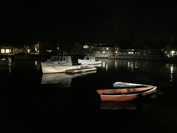 Rockport Harbor at Night, Lobster Boat, New England Views