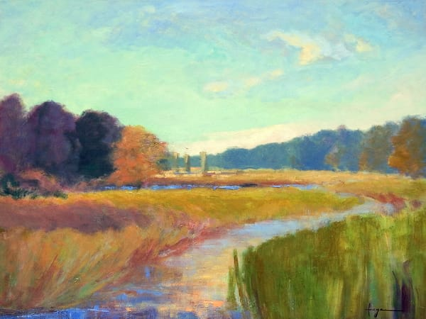 Colorful Autumn Coastal Marsh Landscape Painting & Art Print on Canvas, Golden Afternoon by Dorothy Fagan