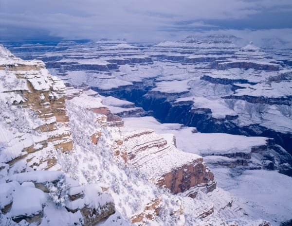 Cold winter snow covering the Grand Canyon